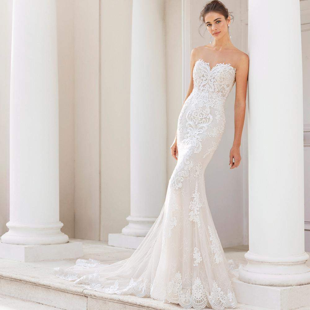 Mermaid Lace Wedding Dresses Vestido de Noiva Strapless Bridal Gowns 20  Sheer Wedding Dress Open Back Bride Formal Gown