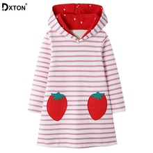 DXTON Winter Kids Dresses Strawberry Princess Gilrs Dress Stripe Long Sleeve Children Clothes Cotton Hooded Dress For Girls 2-8Y children clothes long sleeve strawberry patten 100