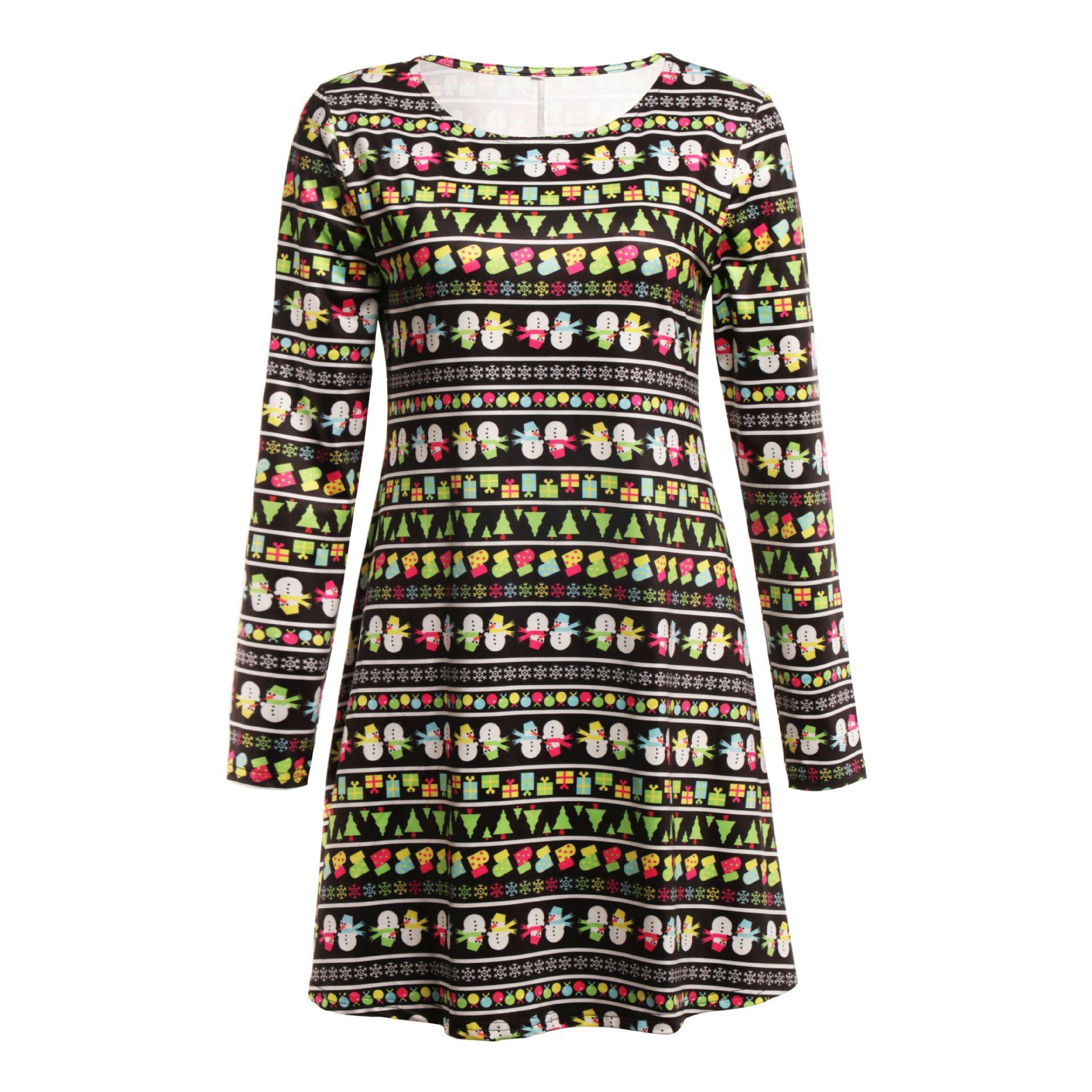 Print Long Sleeve Autumn Winter Christmas Dress Women 19 Casual Loose Short Party Dress Plus Size S-5XL Vestidos 5