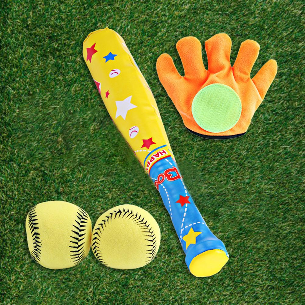 4 Pcs Kids Baseball Toys Set Plastic Soft Baseball Sport Children Bat Gloves Ball Set For Kids School Game Playing Baseball Set