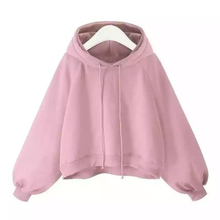 Women Crop Hoodies Sweatshirts Autumn New Loose Solid Color Hooded Long-sleeved Sweater Harajuku Oversized Hoodie Women Clothes stylish hooded bat sleeved loose fitting solid color zip up hoodie for women