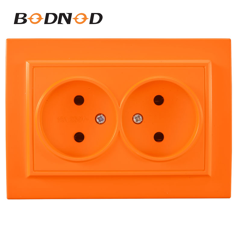 Wall Two Socket New Socket Orange Color Double Socket With Out Earth European DIY Socket 16A 250V Legrand Schneider Livolo(China)