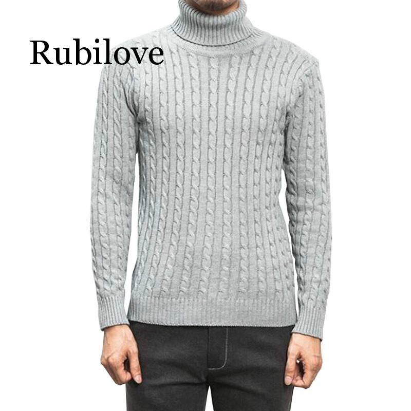 Men'S Turtleneck Sweater 2019 New Winter Men'S Solid Color Casual Sweater Men's Brand Knitted Pullovers And Sweaters 5XL