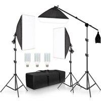 מקצועי צילום סטודיו Softbox אורות רציף תאורת ערכת אביזרי ציוד עם 3Pcs רך תיבה, LED לילל, חצובה Stand