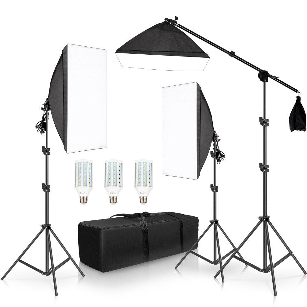 Kit de accesorios de iluminación continua para Softbox de estudio fotográfico profesional con 3 uds. Softbox, LED Blub, soporte para trípode