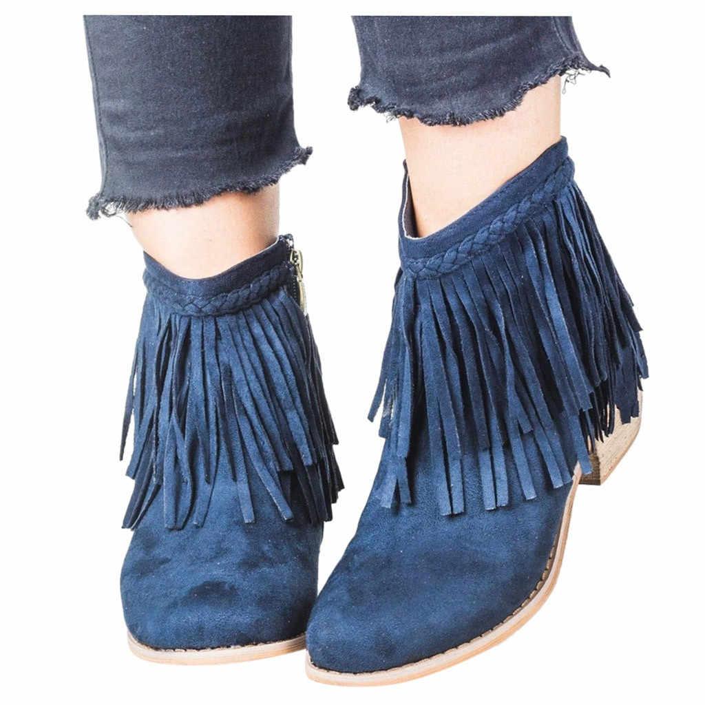 JAYCOSIN Bayanlar Kış Ayak Bileği kısa çizmeler Retro Kadın Ayakkabı Püskül Düşük heele Fermuar Olmayan-Kayma Roma kısa çizmeler rahat ayakkabılar