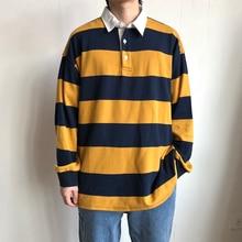 Мужской Хлопковый пуловер, Повседневная Свободная Толстовка с длинным рукавом и принтом в полоску, 3 цвета, 2019