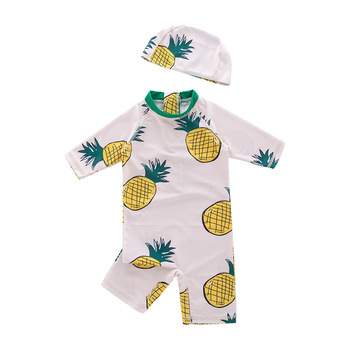 New Flower Baby Girl Swimsuit Bathing Suits 2019 NEW Girls boys Navy Stripe Swimwear Hat 2Piece for Kids Children Swimming Suit