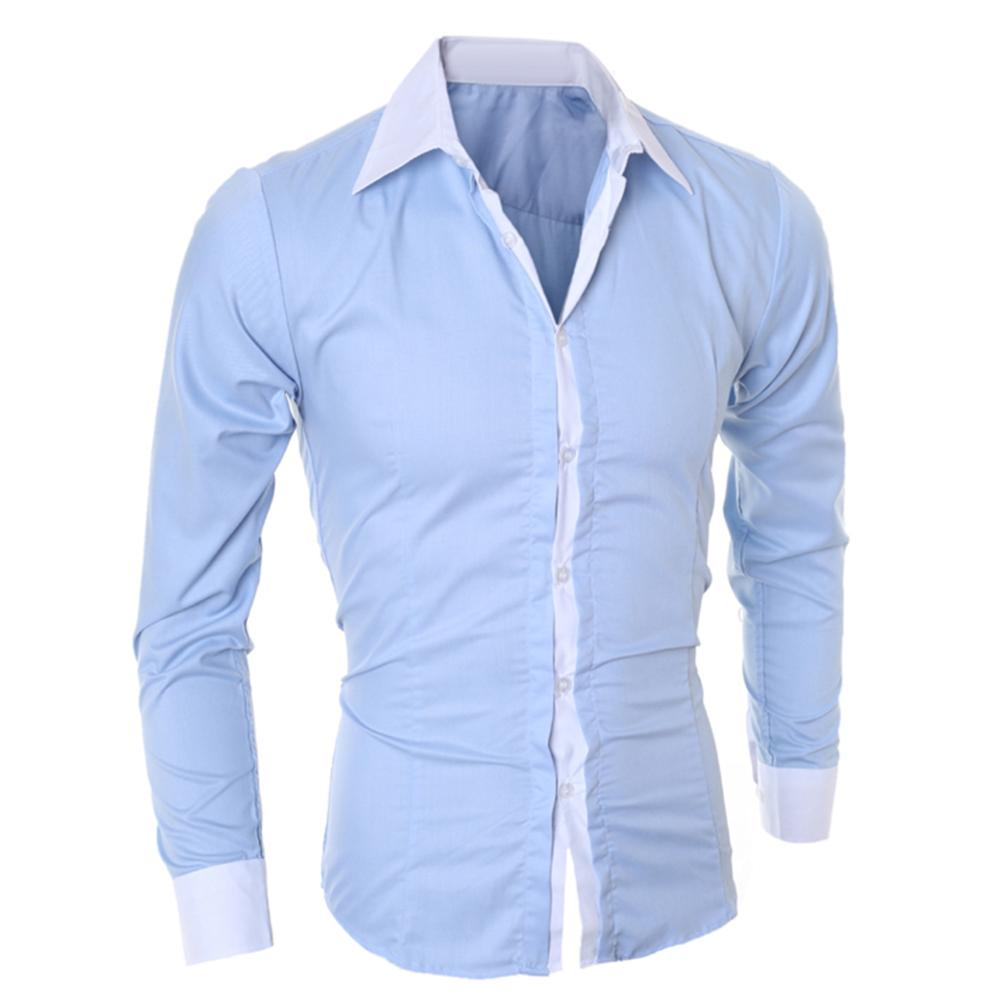 Men Dress Shirt Long Sleeve Slim Business Men Turn Down Collar Long Sleeve Color Block Cotton Prom Slim Shirt M-XXL