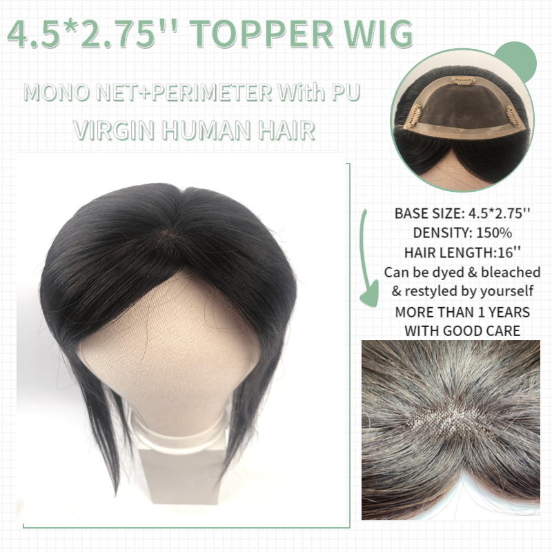 Vlasy 4.5*2.75'' Straight Hair Topper Wig Mono PU Base With 3 Clip In Hair Toupee 150% Density Remy Hairpiece Natural Color