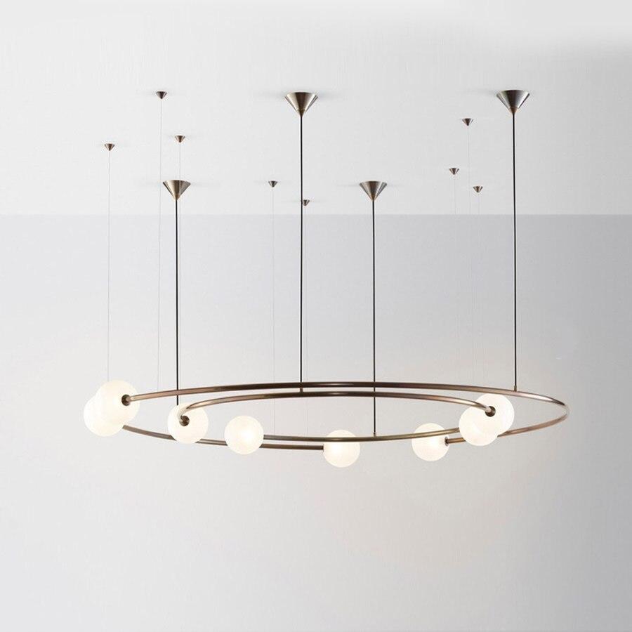 Planet Orbit Glass Ball LED Pendant Lamp Living Room Ceiling Hanging Lights Restaurant Hotel Bedroom Deco Light Include LED Bulb