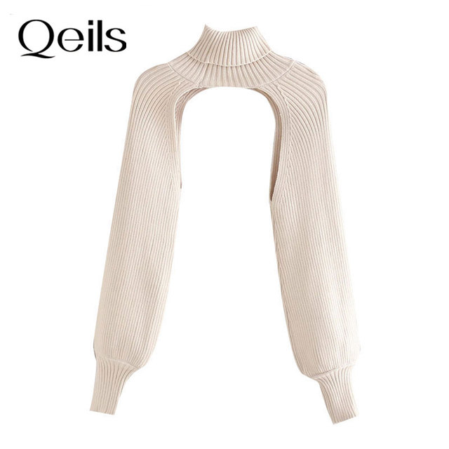 Qeils Women 2021 Fashion Arm Warmers Knitted sweater Vintage Turtleneck Long Sleeve Female Pullovers Chic Tops 3