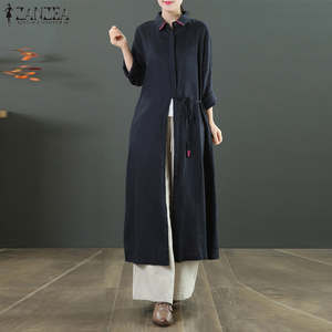 Women Cardigan ZANZEA Autumn Casual Solid Long Blouse Female Long Sleeve Lace Up Shirt Loose Cotton Linen Tops Vestido Blusas 7