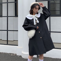 Japanese College style Dark Vintage Gothic Women Harajuku Autumn Punk Doll Collar Bowknot Loose Thicken Long sleeve Long Coat