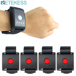 Hospital Nurse Call System 433MHz Emergency Call Button For The Elderly Patient 1 Watch Pager Receiver + 4 Call button F4411A