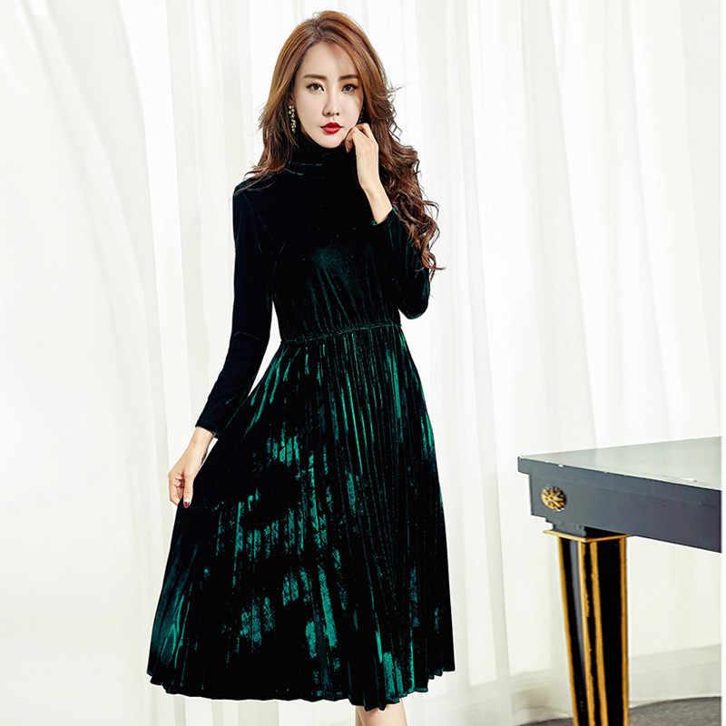 2020 Vrouwen Vintage Geplooide Fluwelen Jurk Elegante Herfst Winter Casual Slim Lange Bruin Jurk Vestidos Plus Size 4XL WXF622