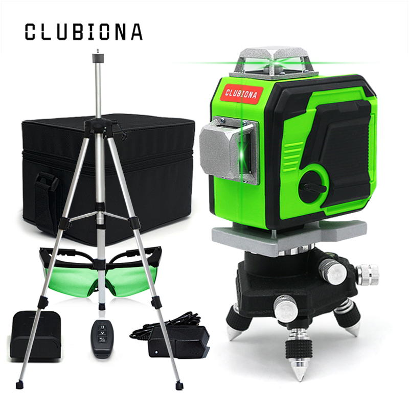 CLUBIONA Line laser level 3D Self Leveling 360 4000mAh battey Green Beam Line Horizontal And Vertical Cross For Remote Control|Laser Levels|   - AliExpress