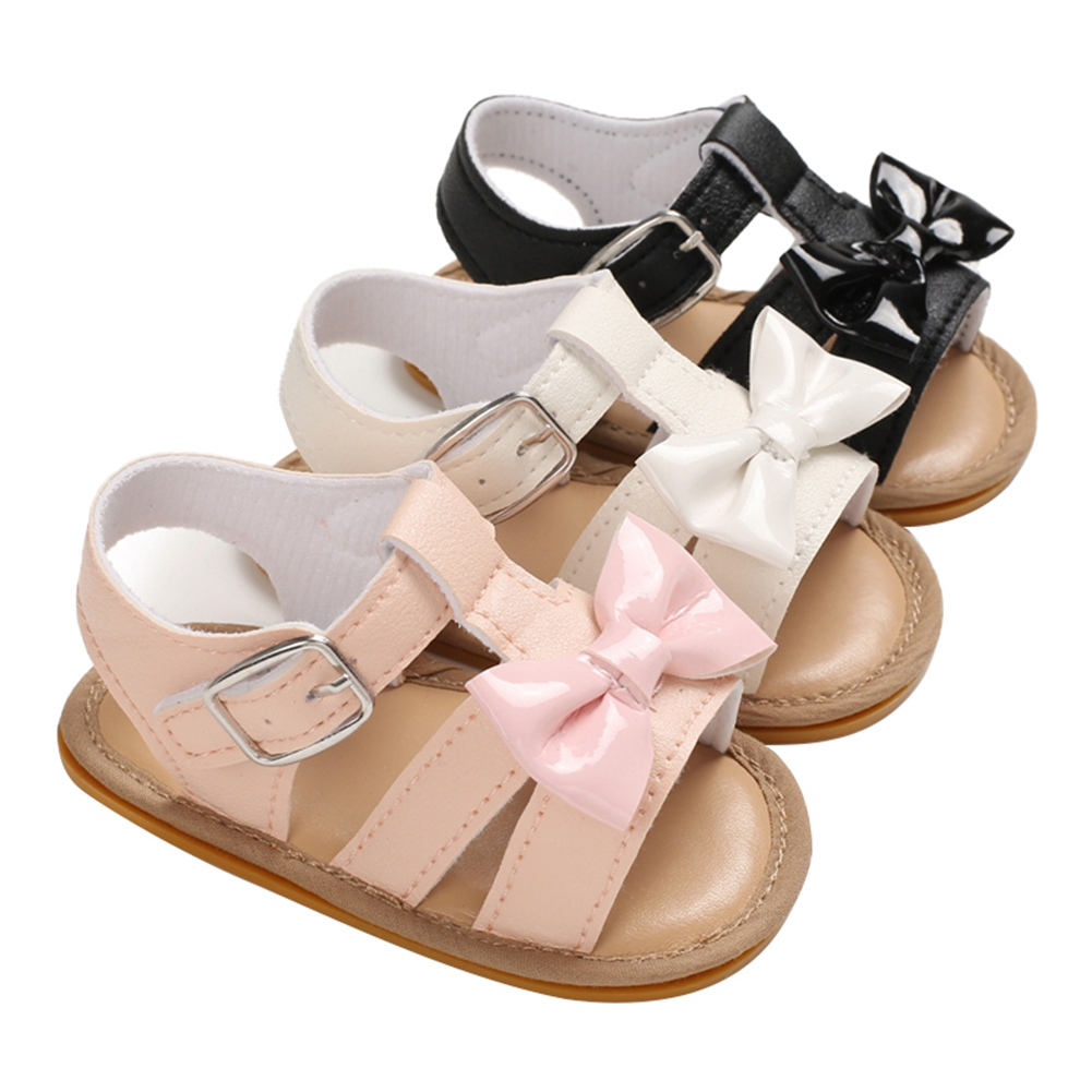 Baby Summer Shoes Sandals Baby Girls Infant Soft Crib Shoes Cute Shoes Bowknot Solid Candy Color Bow Sandals 0-18M