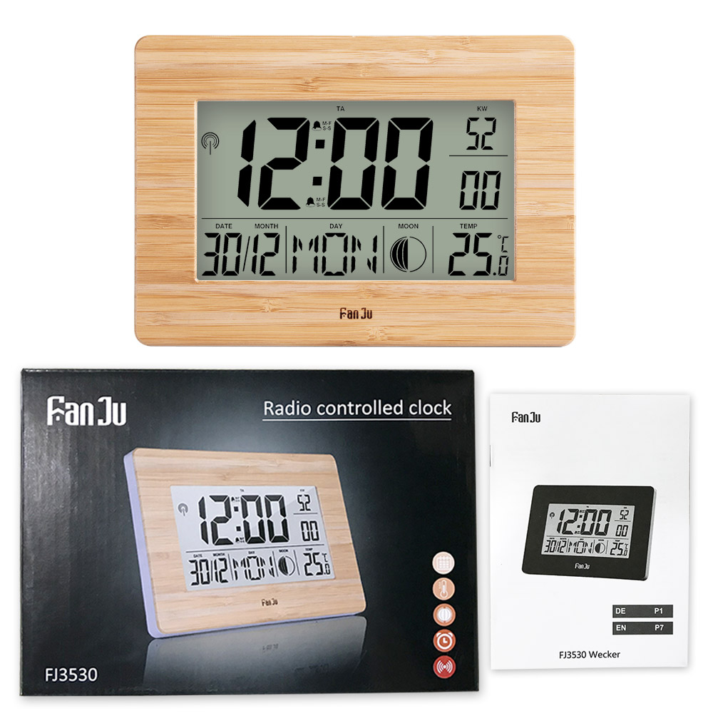 Image 5 - FanJu FJ3530 LCD Digital Wall Clock Alarm Big Size Number 