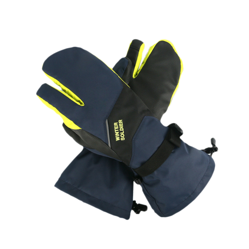 Ski Gloves Waterproof Warm Thick Press Screen Three-Finger Gloves For Men Outdoor Winter Ski Cycling