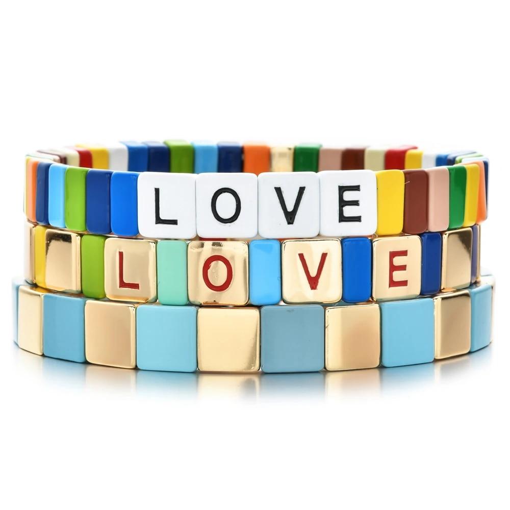 zmzy new charm love letter bangles stretch bracelet enamel tile bracelets boho pulseras mujer 2021 women spring jewelry