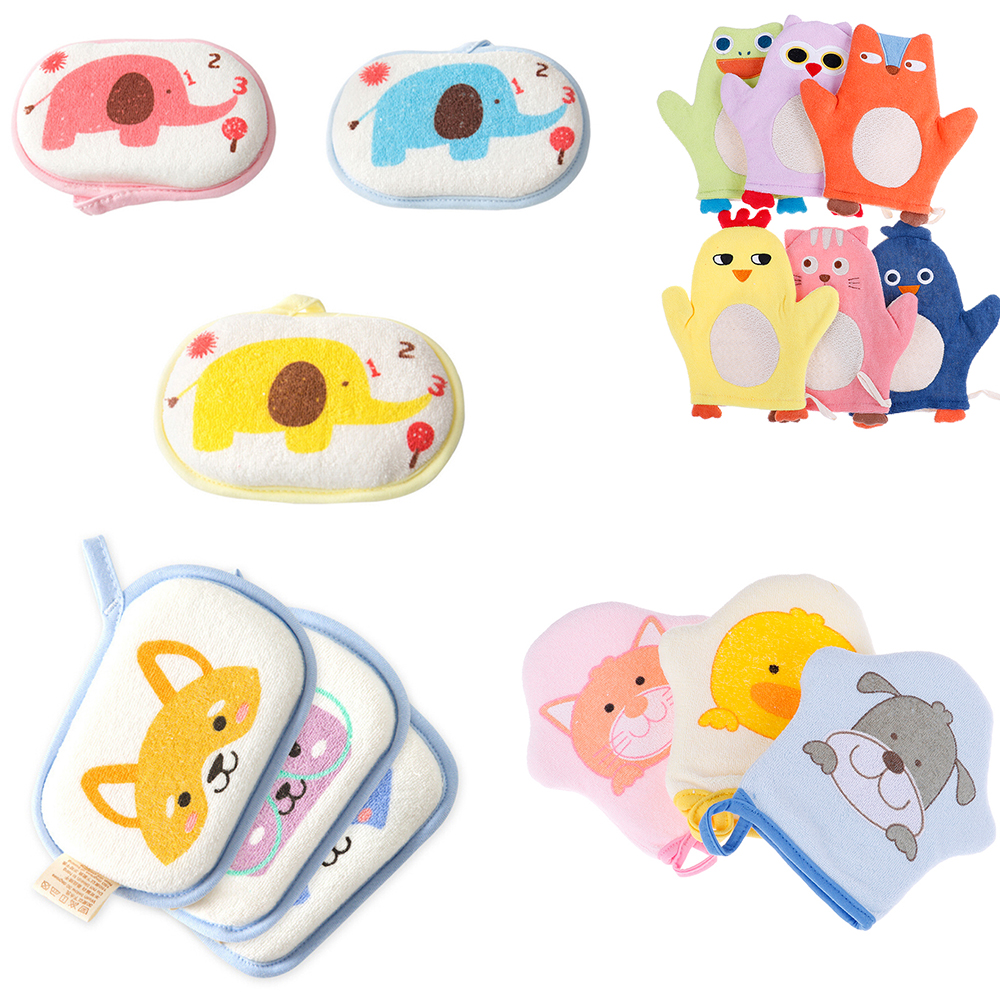 1PC High Quality Shower Brush Cartoon Infant Cute Rubbing Cotton Bath Sponges Gloves Baby Towel