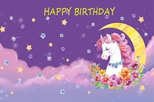 Laeacco Photo Backdrops Pink Sweet Unicorn Birthday Party Moon Flowers Poster  Photography Background Photocall Studio