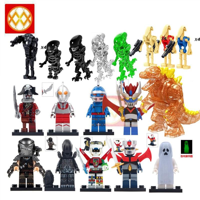 Alien Predator Monsts Building Blocks Toys For Children Figurines Egg Heroes New