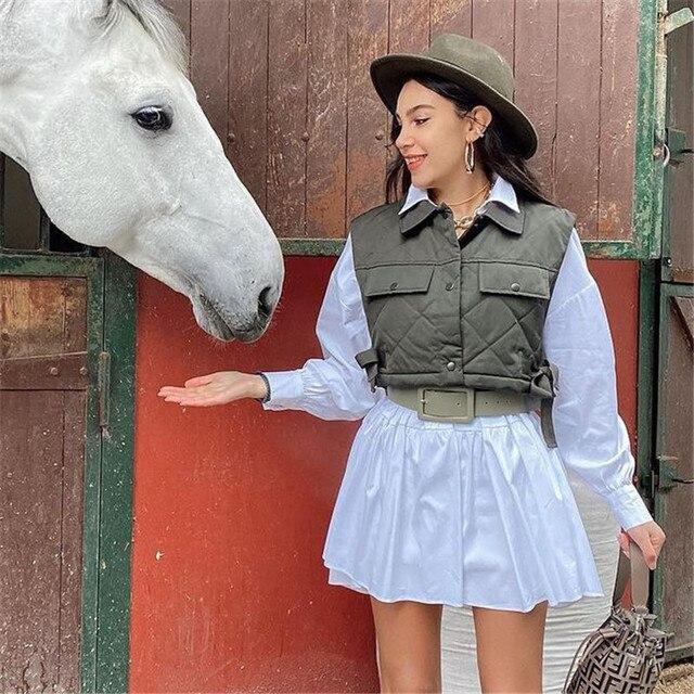 Womens Vest Army Green Lapel Sleeveless Jacket 2021 Fashion Large Pocket Design Waistcoat Streetwear Tops 2