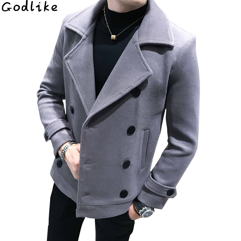 New Autumn Winter Men's short Woolen Coat Double-breasted Design Business Casual Man Warmth Overcoat Windbreaker large size 5XL