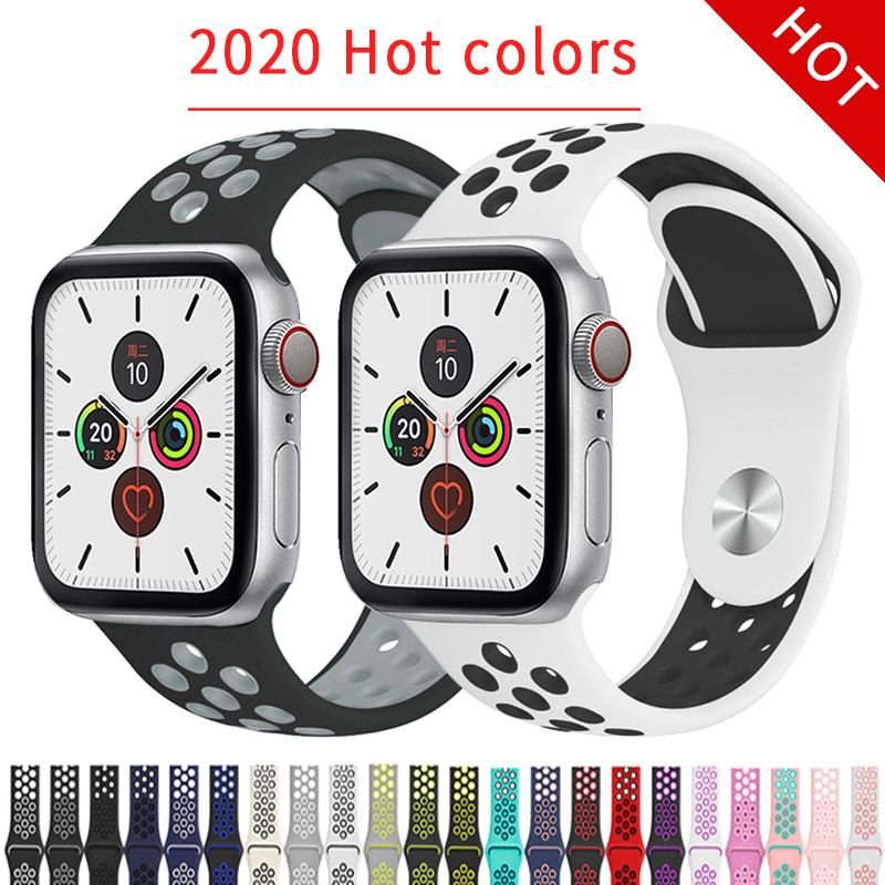 Sport Strap For Apple Watch 3 Band 38mm 44mm Silicone Bracelet For Iwatch Series 5 4 2 1 Smart Watch Accessories 40mm 42mm