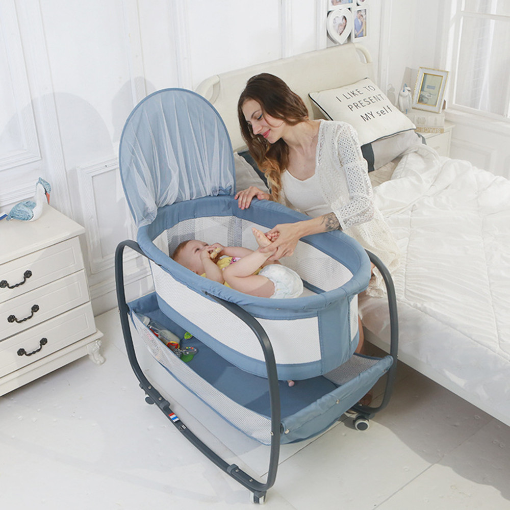 Multifunctional Baby Bed With Mosquito Net With Roller Baby Crib For Newborn Travel Baby Cot