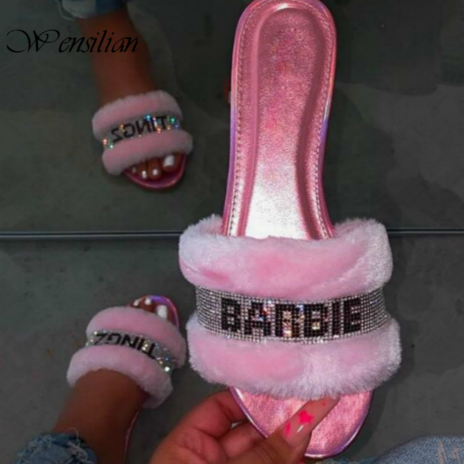 Fashion Home Slippers Women Fur Slides Baby Pink Flip Flops Bright Diamond Indoor Shoes Hair Slippers For Women Zapatos De Mujer