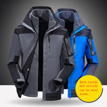 цены Winter Warm Three-in-one Windbreaker Waterproof Jacket Detachable Velvet Fleece Jacket Hiking Camping Outdoor Sport Coat Jacket