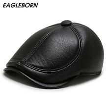 Nowy Beret czapka zimowa PU berety tatuś czapki mężczyźni czapki zimowe ciepłe czapki czapki w średnim wieku starsze czapki klasyczne czapki wysokiej jakości tanie tanio EAGLEBORN Faux leather CN (pochodzenie) Dla dorosłych AT-092 Stałe Na co dzień Berets Solid Black brown Artificial leather