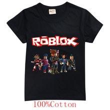 Verão crianças robloxing top manga curta t-shirts de algodão meninas roupas para meninos grandes t trajes kawaii natal camisa