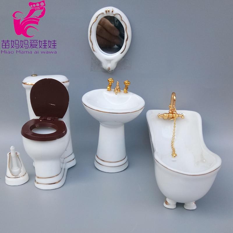 Mini Bathroom Model For Doll House Diy Bathtub Toilet For Barbie Blythe Doll Furniture 1/6 BJD Doll Accessories