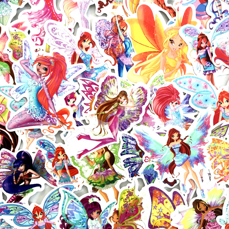 70PCS Butterfly Fairy Princess Cartoon Girl Stickers For DIY Luggage Laptop Skateboard Car Decor Funny Kids Toys Sticker F3