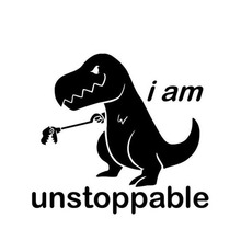 Car Sticker Lovely Cartoon I Am Unstoppable Automobiles Motorcycles Accessories Dinosaur PVC Decals for Ford Tacoma,15cm*15cm v i pet кость повёрнутая большая 15cm 13108