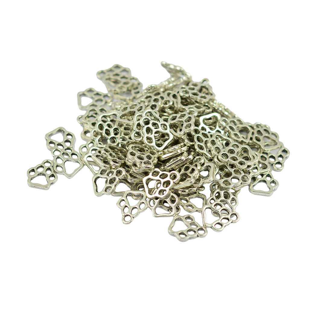 100pcs Antique Silver Filigree Puppy Paw Print Charms Pendant Jewelry Making