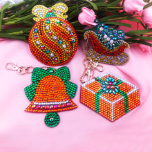 4/5Pcs DIY Full Drill Special Diamond Painting Keychain Cartoon Christmas Women Bag Pendant Keychains Jewelry Key Ring Gifts(China)