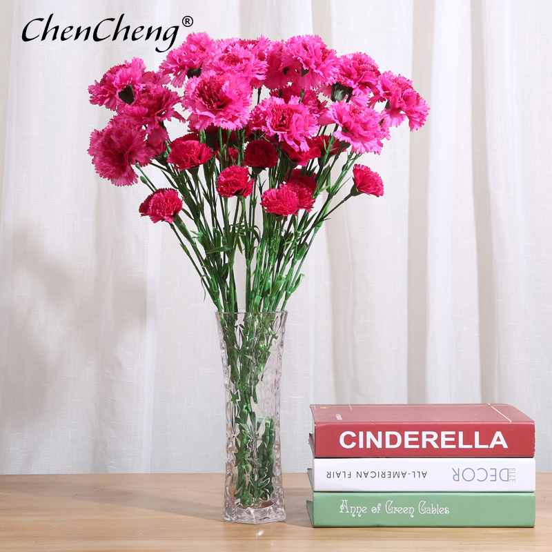 CHENCHENG 1 Piece 53 CM Silk Artificial Flower Carnation Fake Flowers Thanksgiving Mother's Day Gift For Home Decor