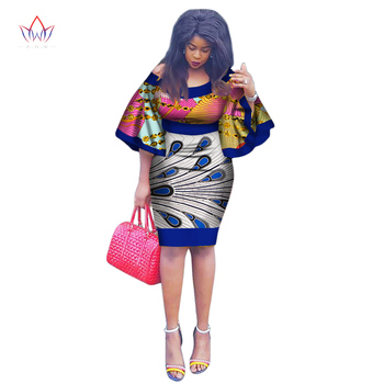 African knee length dresses for women african print clothing Brazil O-Neck dress Dashiki african fashion dresses nigeria WY1991