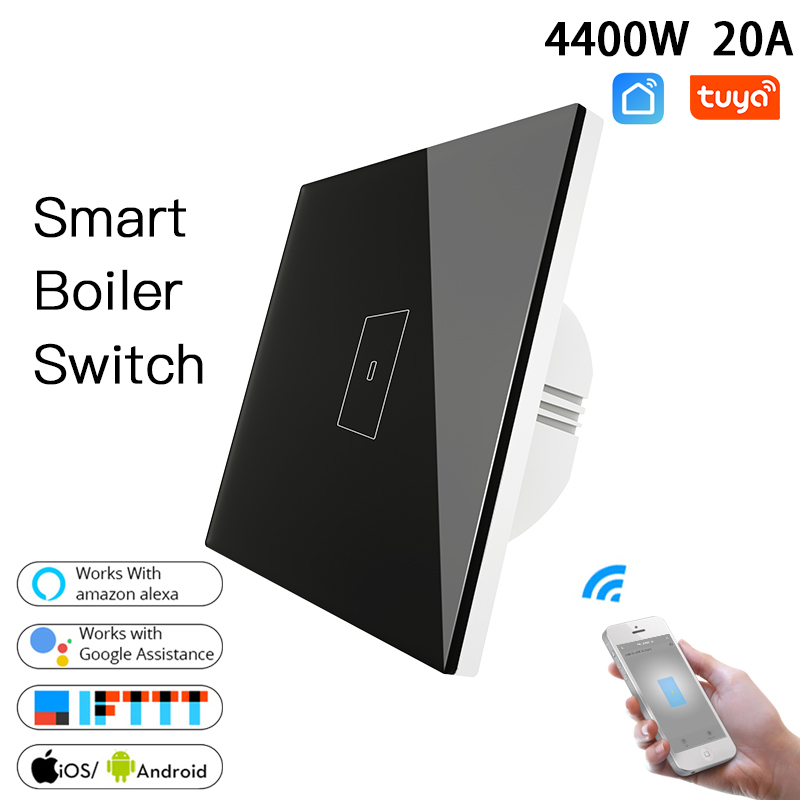 EU US WiFi Smart Boiler Glass Switch 4400W Smart Life Tuya App Remote Control Water Heater Switch,Work With Alexa Google Home