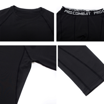 3 Piece Men's Full Suit Tracksuit MMA Tactics winter thermal underwear Skull rashgard Male Compression sport Tights jogging suit 2