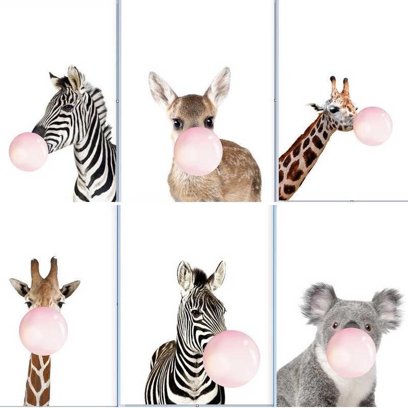 キリンシマウマ動物ポスターやプリントキャンバスアートの絵画ウォールアート保育園装飾画像北欧スタイル子供装飾