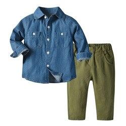 Весна 2021, одежда для маленьких мальчиков, джинсовая рубашка + штаны, комплекты детской одежды, официальный джентльменский костюм для малень...