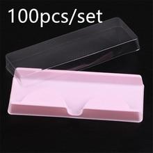100pcs/set Eyelashes Case Storage Packing Box Plastic Pink Beige Transparent Eye Lashes Case Lot Make Up Case 40#41