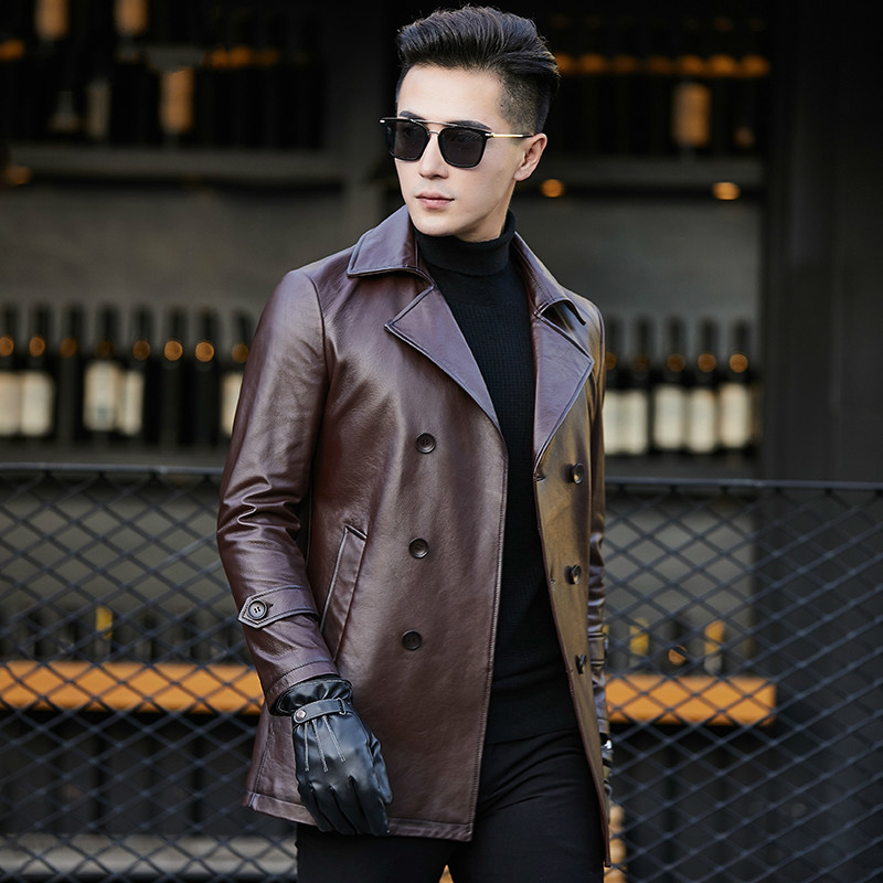 Genuine Cow Leather Jacket Men 2020 Vintage Spring Autumn Cowhide Coat Real Leather Jackets Veste Moto Homme AY6607 YY373
