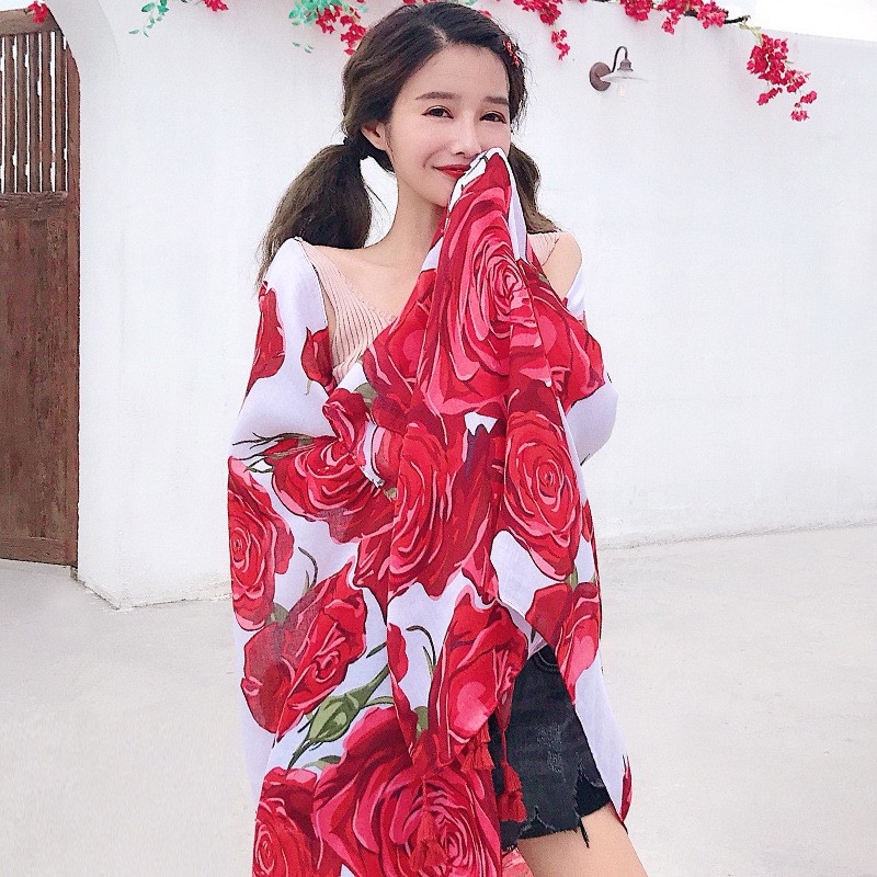 Women Red Floral Scarf Summer Spring Silk Shawl Ponchos and Capes Head Scarf Hijab Scarves Luxury Soft Blanket Wrap Long Shawl in Women 39 s Scarves from Apparel Accessories